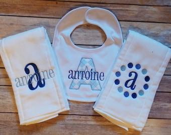 Personalized Bib and Burp Cloth Set - Boys Monogram Bib -Navy Blue - Newborn - Baby Boy Embroidered Burp Cloth and Bib