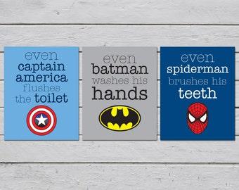 Superhero Bathroom / Bathroom Rules / Superhero Bathroom Decor / Boys  Bathroom Decor / Kids Bathroom