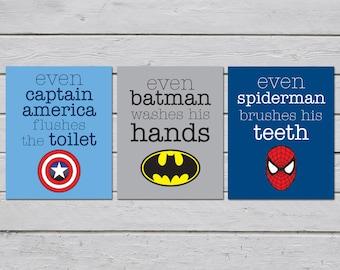 Superhero Bathroom Wall Art. Superhero Bathroom Decor.