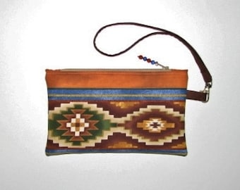 Quilted Fabric Wristlet, Zippered Pouch with Removable Wrist Strap, Southwestern Aztec Clutch,  Brown Rust Blue Natural, Quiltsy Handmade