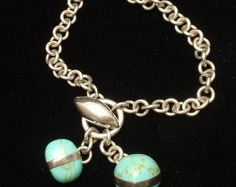 Sterling Silver Turquoise Eggs Charm Bracelet Mexico