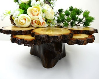 "12"" Wedding Cake Stand,Wedding Centerpiece, Wedding Wood Cake Stand, Cupcake Stand, Oak Wood Stand, Cake Stand, Rustic Wedding"