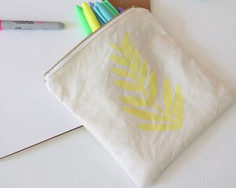 YELLOW FERN POUCH - small hand printed tropical limoncello yellow fern print pouch gift