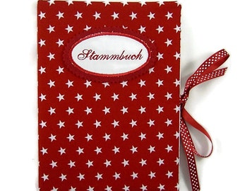 Binder DIN A5 - for example as album - stars red - inside 20 term hull - embroidery button on request