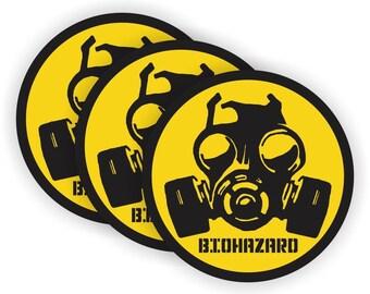 "Biohazard Gas Mask Symbol Yellow (3 PACK) - 2"" Full Color Printed Vinyl Stickers - Hard Hat - Helmet - Phone - Laptop - Etc."