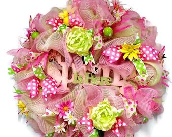 Spring Wreath, Easter Wreath, Wreath for front door, Easter decor, peony wreath, sign wreath