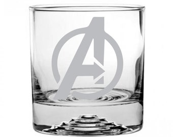 The Avengers Etched Rocks Glass Personalized