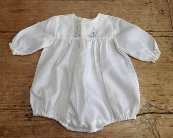 Vintage Baby Romper with Hand Embroidery