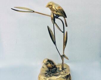 Vintage Brass Sculpture of two Brass Birds on a Stems , Dolbi Casher, 1980