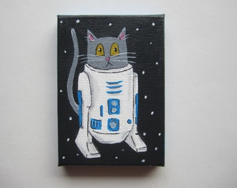 "Grey Cat R2D2 Acrylic Painting, 2.5x3.5"" Star Wars Cat Art, R2D2 Cat Painting by Amber Maki"