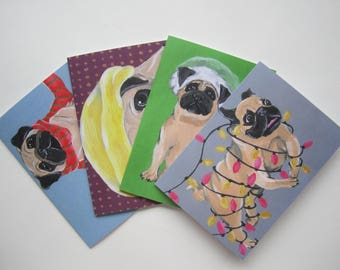 Pug Holiday Card Four Pack, Holiday Card Set, Fawn Pug Holiday Card Set by Amber Maki