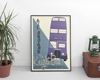 Harry Potter Knight Bus Poster Print - Vintage Wizarding Travel Transport Poster