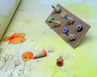 Wooden Stud Earrings set with colored pencils, four pairs