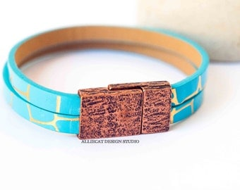 NEW Bohemian Bracelet, Boho Turquoise Copper Faux Leather Cuff Bracelet (6.5 inches)