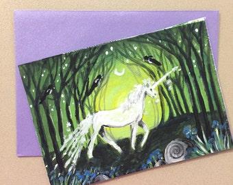 Magical evening. Greeting Card. Original painting on card.