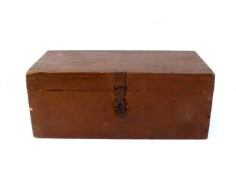 Vintage French Large Wooden Oak Box Paris Address Industrial  storage early 1900's Home Style