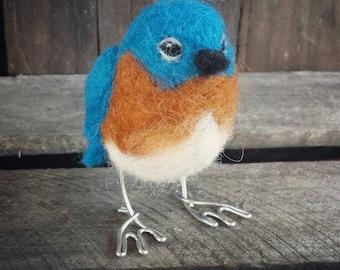 Needle Felted Bird - Blue Bird