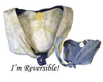 Hobo Purse / Boho Bag / Slouch Bag / Shoulder Bag - Upcycled from  Jeans - Reversible to Lime Green and White Print