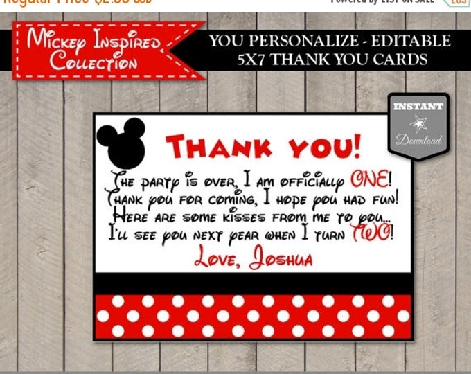 SALE INSTANT DOWNLOAD Editable Mouse 5x7 One Year Thank You Cards / You Type Name / Classic Mouse Collection / Item #1551