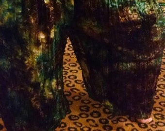 Brown and Blue Tye Dye Silky Fabric Pantaloons with Sparkle