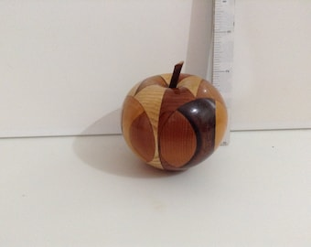 Hand Turned....Multi Wood Apple....Turned From Various Woods....English Walnut....  English Ash....English Yew....Etc