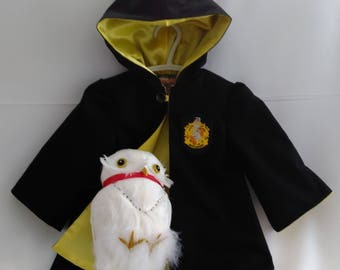 Baby Wizard Robe, Hufflepuff Robe, Harry Potter Hooded Robe, Size: New Born, Ready To Ship NOW, Cotton Outer & Satin Lining, All Handmade