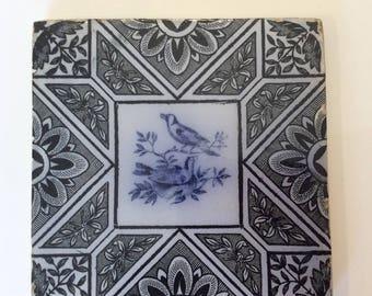 Antique flow blue black tile with birds