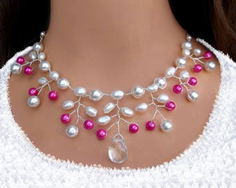 Bridal necklace Bridal Jewelry Wedding, necklace freshwater cultured pearls, Bridal necklace cultured pearls wedding jewelry chain