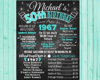 50th Birthday Chalkboard 1967 Poster 50 Years Ago in 1967 Born in 1967 50th Birthday Gift