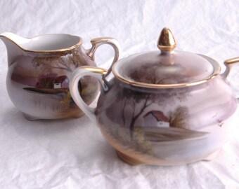 Vintage Noritake Creamer Sugar Bowl - Hand Painted - Replacement China - Creamer - Sugar Bowl
