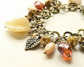 Leaf Charm Bracelet Leaf Bracelet Fall Bracelet Leaf Charms Autumn Leaves Cream Bracelet Friend Gift Crystal Bracelet Fall Fashion