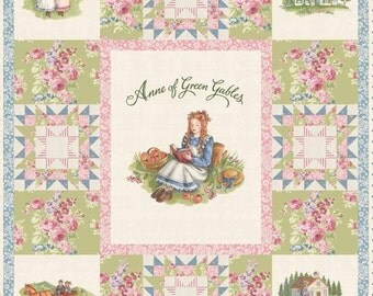 """Penny Rose Fabrics - Anne of Green Gables Panel P5869 Cream 36"""" x 42"""" - Patchwork Cheater Digitally Printed - Quilt, Quilting"""