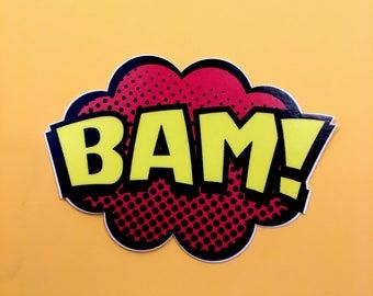 BAM Comic Book Bumper Sticker Slap for Cars or Laptops