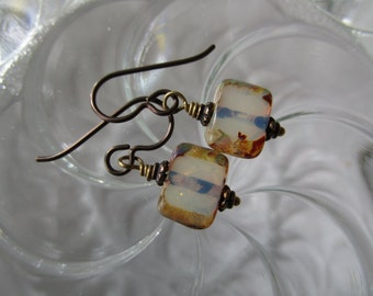 Rustic and Milky Czech Glass Earrings Handmade and Teeny Unique Natural Picasso Window Glass Earrings Hypoallergenic Niobium Ear Wires