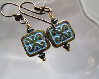 Translucent Rustic Czech Glass Tile Bead Earrings Trix Stamped Glass Earrings Hypoallergenic Niobium French Hooks for Incredible Earrings