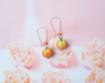 earrings peaches polymer clay