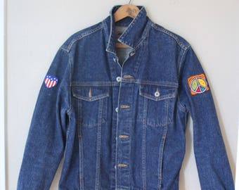 vintage GUESS jeans harley davidson patch denim jacket *