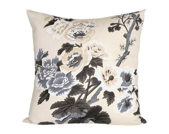 Pyne Hollyhock Charcoal designer pillow cover - Schumacher fabric - 1 SIDED OR 2 SIDED - Choose Your Size