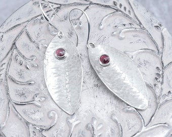Garnet Earrings, Red Garnet Leaf Shape Sterling Silver Earrings, Oval Hammered Silver Dangle Earrings with January Birthstone Made to Order