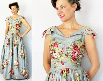 """40s Gown / 1940s Gown / Evening Gown / Sequined Gown / Special Occasion Dress / 40s Dress / 1940s Dress / Formal Dress / VLV / Waist 25"""""""