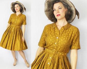 """1950s Dress / 50s Dress / Gold Brocade Dress / Day Dress / 1950s Day Dress / 50s Day Dress / Copper Dress / New Look Dress / Waist 28"""""""