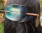 Leather Raven Crow Feather Hair Barrette with wooden stick and gold feather char