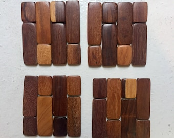 Set of Four Mixed Wood Coasters