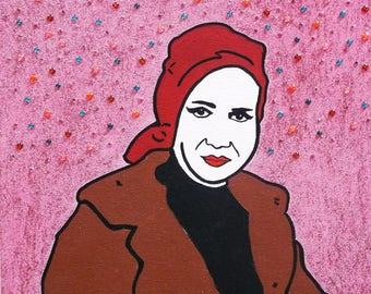 Little Edie Beale STAUNCH kitsch glittery original artwork inspired by Grey Gardens