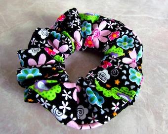 Crazy Hippie Flower Handmade Hair Scrunchie 100% cotton