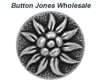 50 pcs. Alpine Blossom 11/16 inch ( 17 mm ) Metal Buttons Antique Silver Color
