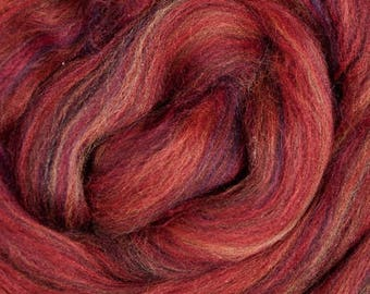 Dyed Merino - Mojave - Multicolor commercial dyed - combed top roving spinning felting fiber fibre arts - red black blue gold