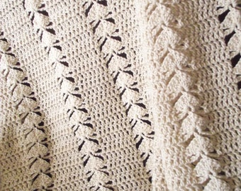 "Soft White Afghan 50""X61"""