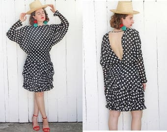 Vintage 80s Dress | 80s Polka Dot Party Dress Black White Ruffle Skirt Open Back | Small S Medium M