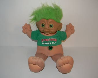 Vintage Ace Novelty Seagram's Ginger Ale Jewel Belly Treasure Troll Doll 15""